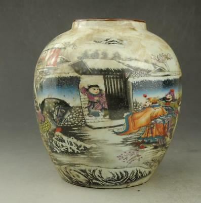 Chinese old famille rose porcelain  Hand painted person and horse pot