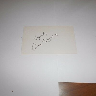 Anne Murray, is a Canadian singer in pop, country,  Hand Signed Index Card