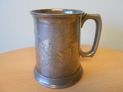 ANTIQUE CHINESE SWATOW CHAI HOH PEWTER TANKARD, GLASS BOTTOM,c1910