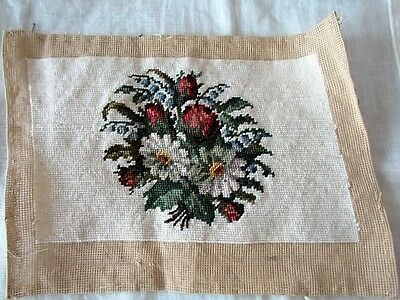 Hand embroidered  Needlepoint Vintage Cushion Pillow Panel Wool Floral Preworked