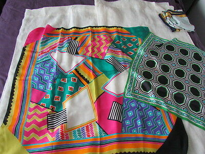 Silk Scarf Lot Colorful Abstract Creasy Quilt Motif Green Yellow pink