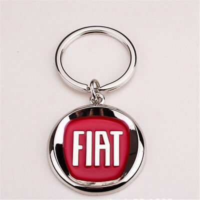 3D Fiat Metal Car Logo Keychain Pendant Ring Keyring Accessories