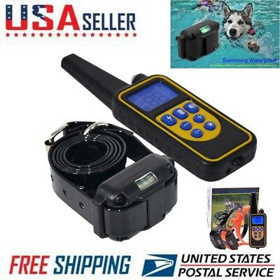 Electric Dog Training Collar Remote Shock Waterproof Rechargeable LCD 1000m US