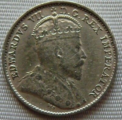 5 Cents Canada 1909 King Edward VII Silver Coin