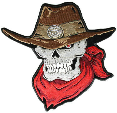 Patriotic Cowboy Skull With Red Bandana Embroidered Biker Patch FREE SHIP