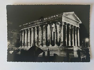 Nimes France B&W Postcard c1938 The Maison Carrée (Roman Temple) at night