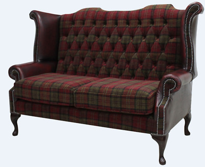Chesterfield 2 Seater Queen Anne High Back Sofa Lana Terracotta Oxblood Leather