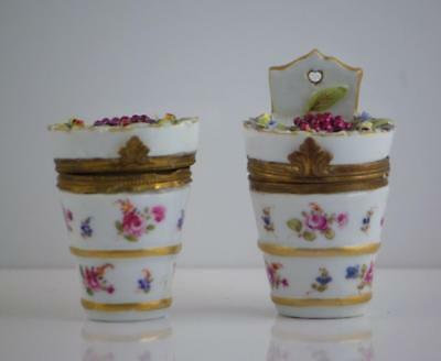 A Beautiful Pair Of Antique 19Th Century Dresden Porcelain Pill / Trinket Boxes
