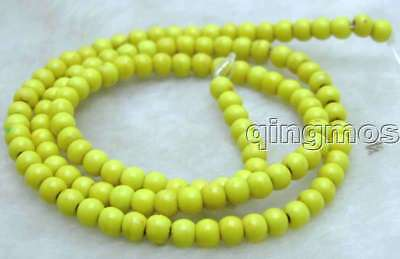 """SALE small 4mm Round Yellow TURQUOISE beads strand 15""""-los615 Free Shipping"""