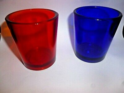 Degenhart Toothpick  votive candle HOLDER Red and Blue D in a Circle Circa 1970