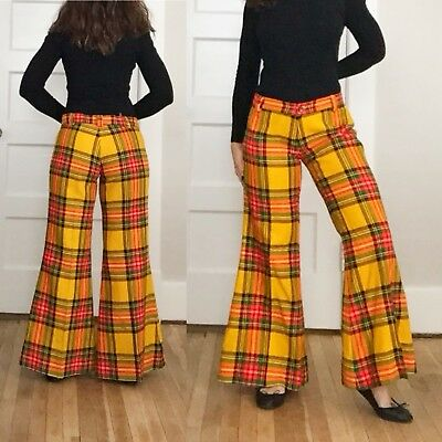 VTG 60s 70s HIGH WAISTED Yellow Plaid HIPPIE Disco Bellbottoms FLARE Pants