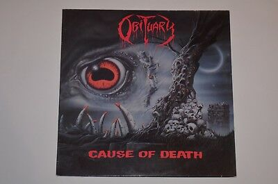 OBITUARY Cause of Death Death Metal LP 1. Press Roadracer 1990 Vinyl VG++