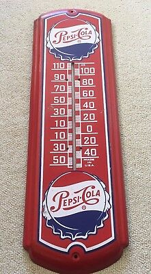 Vintage Original PEPSI COLA Genuine Thermometer Tin Metal Bottle Display Sign