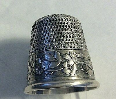 Antique Webster Sterling Silver Band of Flowers Thimble Sewing Sz 10
