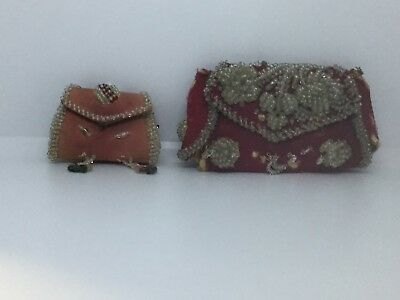 Lot Of Two Old Vintage Hand Made Beaded Small Coin Purses Red And Pink #80J2