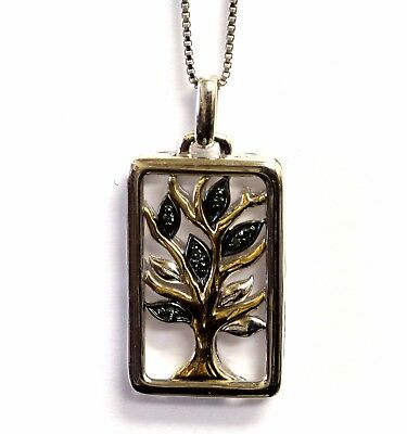 925 sterling silver 14k yellow gold blue diamond tree of life pendant necklace
