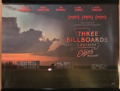 THREE BILLBOARDS OUTSIDE EBBING MISSOURI Original UK Cinema Quad Poster.