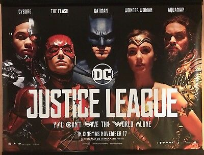 JUSTICE LEAGUE Original UK Cinema Quad Poster.
