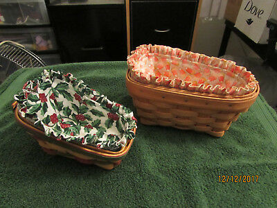 Longaberger Pair Of Decorative Baskets 6 Inch And 7 Inch Holidays With Liners