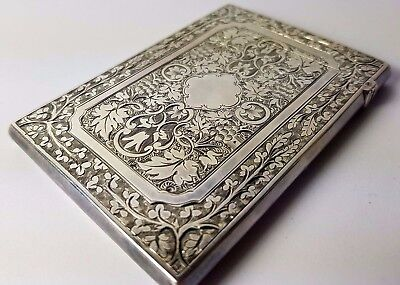 Lovely Antique Solid Silver Victorian Chased Card Case 1891 D&m 61G Great Detail