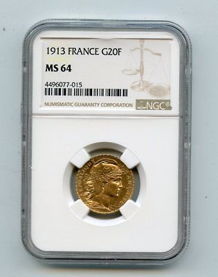1912 France 20 Francs Rooster .900 Fine Gold Coin (MS64) NGC