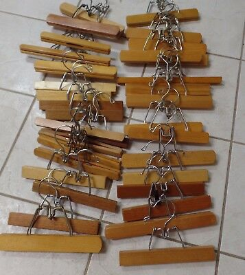 Lot Of 33 Vintage Natural Wood & Metal Pants Slacks Skirts Clamp Clothes Hangers