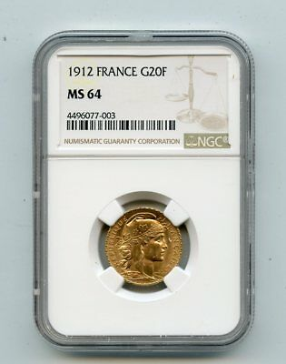 1912 France Rooster 20 Francs .900 Fine Gold Coin (MS64) NGC