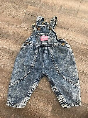 OshKosh B'Gosh Vestbak Baby Girl's Vintage Denim Overalls 6-9 months Made in USA