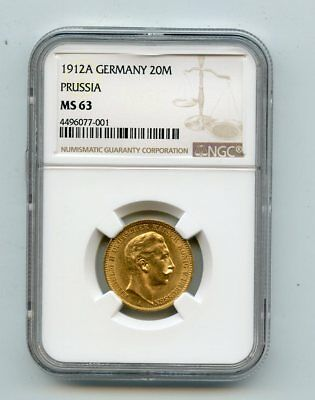 1912A Germany Prussia Wilhelm ll 20 Mark Gold Coin (MS63) NGC