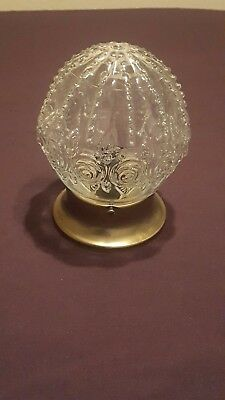 Vintage Embossed Clear Glass Victorian Rose Pattern Ceiling Light Fixture