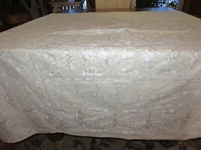 Vintage Cotton Ivory Embroidered The Cave Tablecloth Made In Syria & 6 Napkins