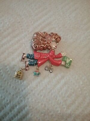 "Karen Rossi Collection Pin ""Book Lover""  w/ charms  Red & Blue #92561"