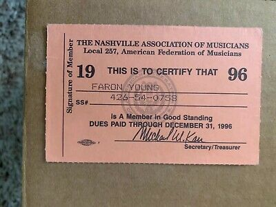 Country Music Legend Faron Young Nashville Assoc. of Musicians Card