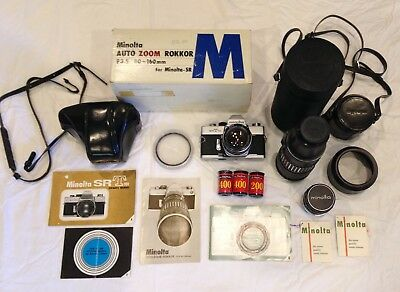 Vintage Minolta SRT101 SLR kit with three lenses
