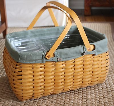 LONGABERGER Craft Keeper Basket 2002 Sage Green Combo Liner Protector LARGE