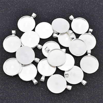 20 Pcs Round Blank Cabochon Base Tray for Necklace Pendant Silver Jewelry Making