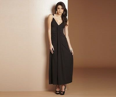 Ladies Stunning Black Dress With Diamante Detail And Slimming Panel Size 10