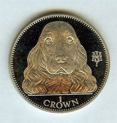 Gibraltar 1992 Crown -Cocker Spaniel- Exceptional Proof Cameo Km#103