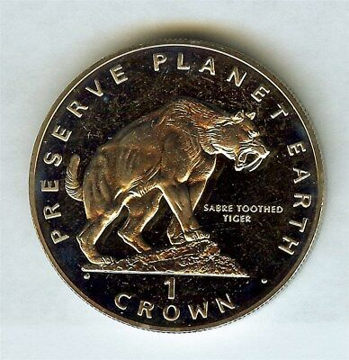 Gibraltar 1994 Crown -Sabre-Tooth Tiger- Exceptional Proof Cameo Km#239