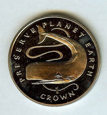 Gibraltar 1995 Crown -Sperm Whale- Near Perfect Proof Cameo Km#308