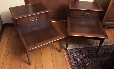 Pair Vintage Lane Cameo Step End Tables Walnut Mid Century Danish Modern 1960's