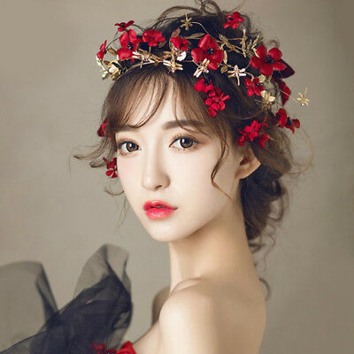 Red Flower Headband Wedding Bridal Leaf Floral Headpiece Crown Tiara Hair Access