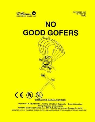 No Good Gofers Operations/Service/Repair Manual Pinball Golf/Golfers WilliamsPPS