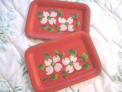 French Country Red Hand Painted Flowers Vintage Farmhouse Dresser Tole Trays