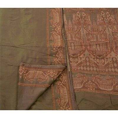 Sanskriti Vintage Indian Saree 100% Pure Silk Green Woven Craft Fabric Sari