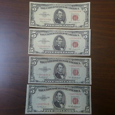Lot of 4 $5. Red Seal Star Notes - 2-Series 1953A, 2-Series 1963