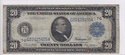 United States 1914 $20 Federal Reserve Note Chicago FR# 991A G37423455A