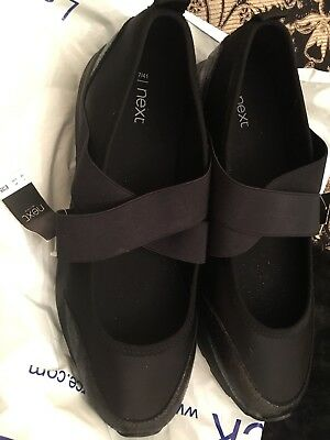 NEXT Black Stretchy Fabric Wide Fit Shoes Size 7 Bnwt