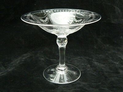 Floral Swag Cut Glass Compote Comport Bowl Etched Intaglio Glass Pairpoint