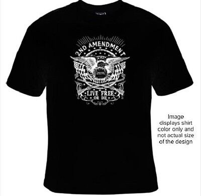 Mens T-Shirt 2nd Amendment Live Free Patriotic Guns Motorcycle Biker Size S-3XL